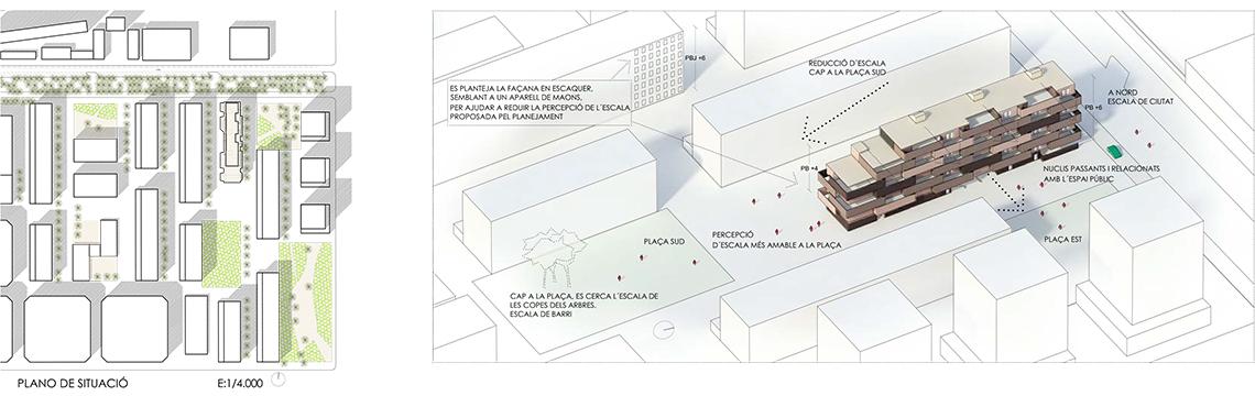 """PROGRAMA INMOBILIARIO De peus a terra agota la edificabilidad de la parcela y el número de plantas permitido, proponiendo 50 viviendas de alta calidad espacial y energética. Cinco viviendas en planta baja, ocho por planta tipo y siete y seis respectivamente en las dos últimas. El cuerpo compacto de la edificación ocupa 11,30m de los 15 de fondo permitidos que permiten la aparición de grandes vuelos de 1,85 m en ambas orientaciones principales. En planta baja se ubican los usos comunes solicitados en el programa inmobiliario (CT, etc.). Por otro lado, se propone recuperar la sociabilidad que se daba antes entre vecinos a pie de calle mediante el tratamiento de la planta baja. Se reservan espacios comunitarios abiertos y cerrados donde estar a la fresca en verano y protegidos del viento en invierno, los portales se hacen pasantes de manera que la planta baja no interrumpa visualmente la comunicación entre las calles, se """"regala"""" a la ciudad un banco corrido y un pequeño espacio ajardinado que pueden utilizar los vecinos de otras promociones vecinas. Los espacios comunes del edificio se han trabajado de forma que sean eficientes en superficies a la vez que permitan cierta individualización de los rellanos. Un espacio comodín, situado en la crujía este, a veces se incorpora a la vivienda como cuarto dormitorio y en otras ocasiones se transforma en un vacío a doble altura iluminado a través de la celosía de fachada el núcleo."""