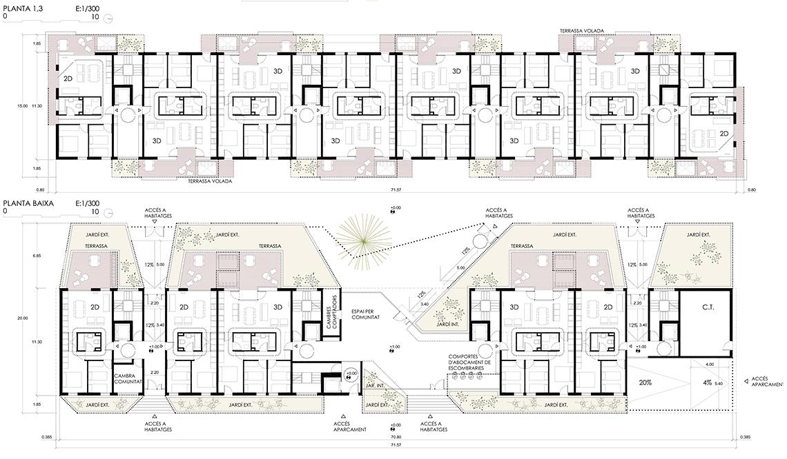 La distribución de las viviendas se realiza para maximizar la ventilación e iluminación exterior de todas las estancias y la ventilación directa de las cocina. Los baños se sitúan a media crujía en la zona oscura de la vivienda. La doble circulación a través de los espacios dota de flexibilidad y amplitud al esquema de vivienda. Los anchos de las habitaciones aseguran su versatilidad y su capacidad de adaptarse a las necesidades cambiantes de los vecinos. Todas las viviendas del proyecto son adaptables si así se desea, ya que el baño se ha dimensionado de forma que permita la inclusión de un círculo de 1,50m si no se instala el bidé. Todas las viviendas se abren a dos fachadas opuestas. Las orientaciones principales, este hacía una plaza y oeste a un espacio interbloque son similares y caracterizadas por una inclinación solar horizontal. Esto sirve de punto de partida para proponer una solución de fachadas indiferenciadas basadas en una vivienda reversible. De este modo, las estancias vivideras, estar y cocina, que son en las que se produce más interacción con la calle, se vuelcan alternativamente a este y oeste en todo el perímetro de edificación. Estos salones se prolongan en un espacio adosado al exterior, un patio, que intenta trasladar las condiciones de la vivienda en planta baja a la vivienda en altura. Este espacio es una habitación exterior, una terraza descubierta que dialoga con el interior de la vivienda y con la ciudad sirviendo de colchón y desdibujando los límites entre ambas; creando cierta ambigüedad entre que es interior y que exterior. Estos espacios se computan como cuerpos salientes abiertos a los efectos de edificabilidad y de superficie construida.
