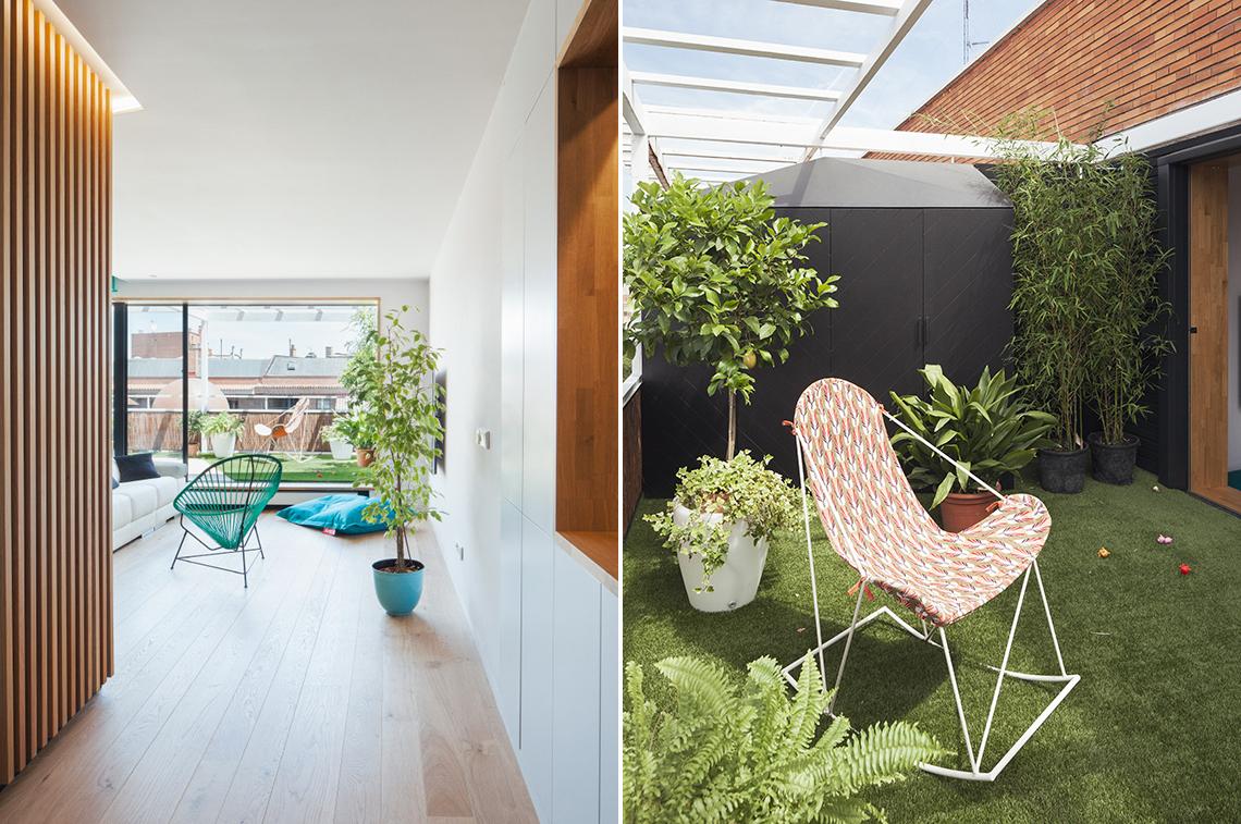 Vista desde el acceso / Detalle de terraza. La modificación de la distribución de la vivienda crea una línea visual desde el acceso a la terraza, aumentando la luminosidad del acceso, que tiene un ámbito espacial propio, aunque se encuentre en continuidad con el estar y la terraza. La inclusión de césped artificial y plantas en la terraza crean la ilusión de un jardín en la séptima planta y dulcifica la preponderancia del ladrillo en el entorno urbano. Un jardín en el centro de la ciudad, ¿no es lo que todos deseamos?